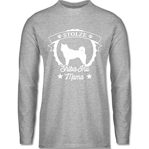 Shirtracer Hunde - Stolze Shiba Inu Mama - Herren Langarmshirt Grau Meliert