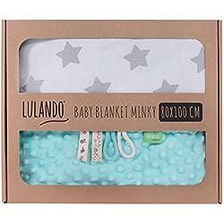Manta para bebés de Lulando, 100% de algodón multicolor Mint - Grey Stars