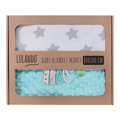 LULANDO Babydecke Kuscheldecke Krabbeldecke aus 100{9cb7cb615eafe0cb912a612e27bcb85300aa7e16208abc6ad2844f103d294a1e} Baumwolle (80x100 cm). Super weich und flauschig. Kuschelige Lieblingsdecke für Ihr Baby. Farbe: Mint - Grey Stars