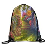 gthytjhv Kordelzug Bag Flower Garden Rucksack for Gym Hiking Travel Customized Color 02 Lightweight Unique 16.9x14.2