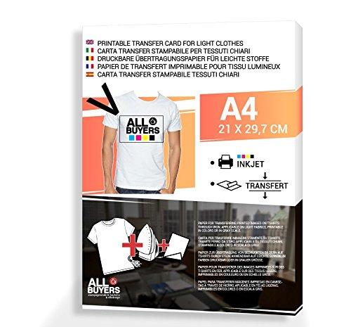 Carta da stampa per magliette A4 trasferimento dell'immagine su maglie col ferro da stiro x 10 fogli A4 per magliette chiare (Maglie Chiare) - 2AINTIMO