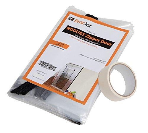 BRACKIT U Form Reißverschluss Tür Staub Bogen mit vormontierten 4m Reißverschluss. 100cm x 220cm(1m x 2.2m), mit Masker Tape 36mm x 10m