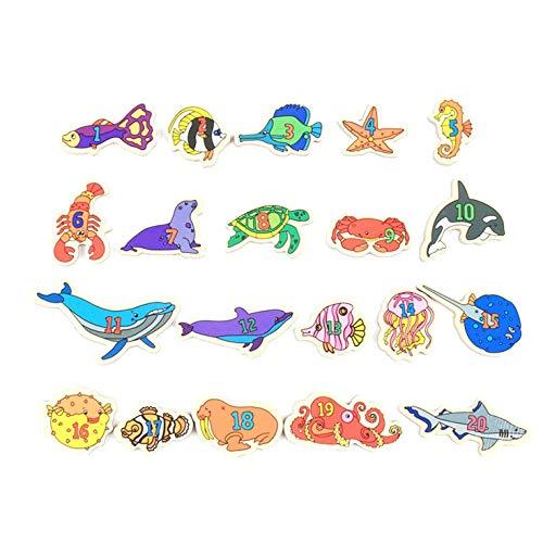 ShengshiZZ Magnetisch Angeln Spiel - Schöne Design Kleinkind Holz Magnet Tiere und Buchstaben Lernspielzeug für Kinder - Digital Marine Fisch - Marine-magnet