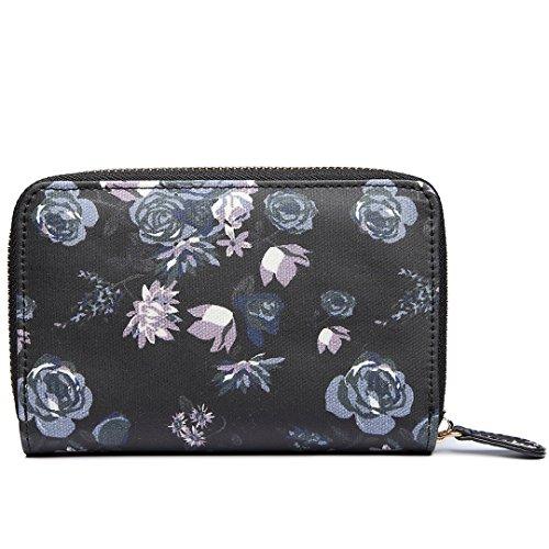 Miss Lulu , Damen Umhängetasche Einheitsgröße 1580-16 Black Flower Purse