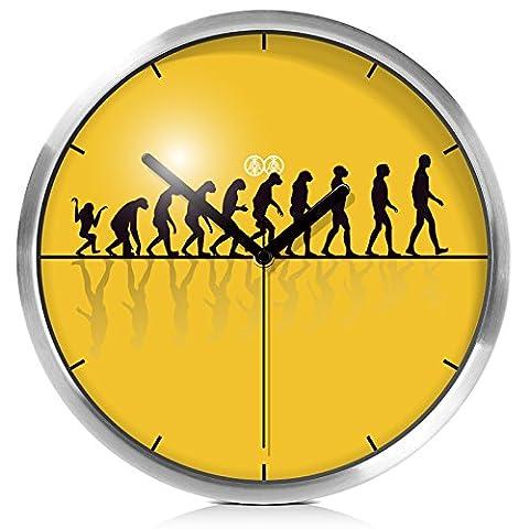 Quietness @ Moderne Horloge murale créative silencieuse et colorée créative Le Centre pour l'évolution humaine en bois métal /14/ boîte métal argent