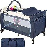 TecTake Culla lettino da viaggio campeggio regolabile in altezza bebé box - disponibile in diversi colori - (Blu | No. 402201)