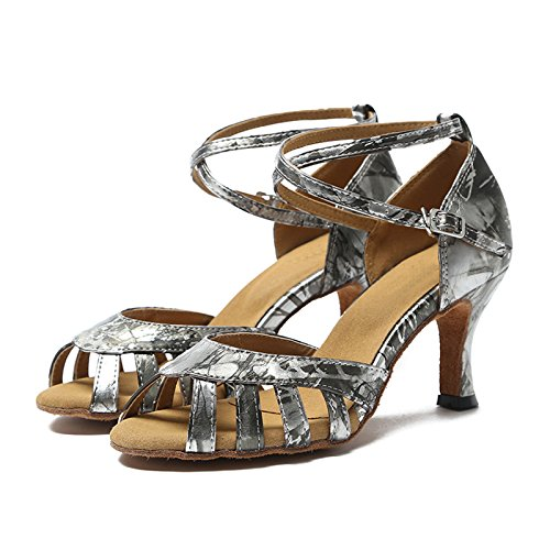 Miyoopark ,  Damen Tanzschuhe Silver Gray-7.5cm Heel