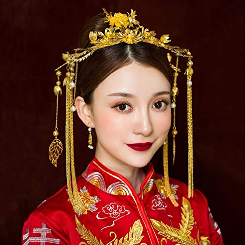 LIUXINDA-TS Braut Tiara chinesische Stil einfache Phoenix Hochzeit Schaffell Hochzeit Schmuck Kamera Dekoration, Ohrclip