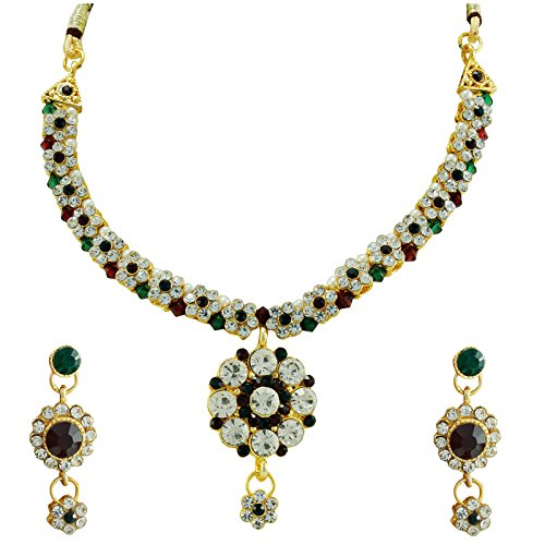 PCM Colourful Flower Shape Gold Plated Pearl Necklace Set For Women  available at amazon for Rs.199