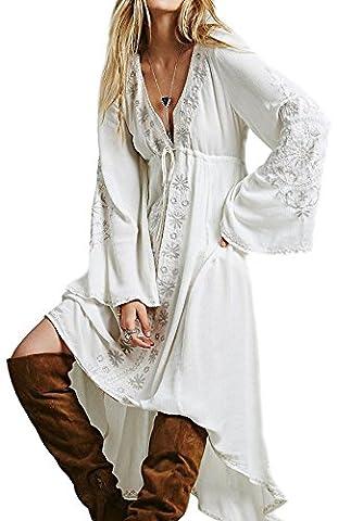 Damen Baumwolle Blumen Bestickt V-Ausschnitt Lange Ärmel Lange Kleider XL Weiß (Hippie Vintage-wrap)