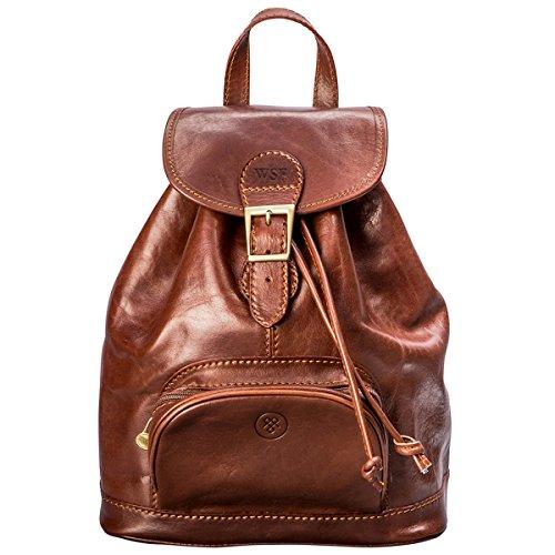 Maxwell-Scott® PERSONALISIERT! Luxus Damen Leder City Rucksack (Sparano) Cognac