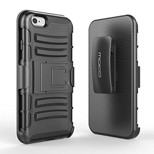 MoKo Case per iPhone 6 Plus - Holster Cover con supporto integrato con clip e Custodia protettiva rigida per Apple iPhone 6 Plus / 6s Plus 5.5 Inch Smart Phone, INDACO Nero