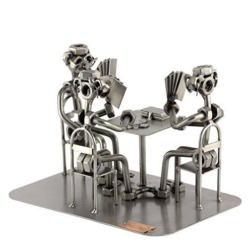 Steelman24 I Schraubenmännchen Skat Spieler I Made in Germany I Handarbeit I Geschenkidee I Stahlfigur I Metallfigur I Metallmännchen