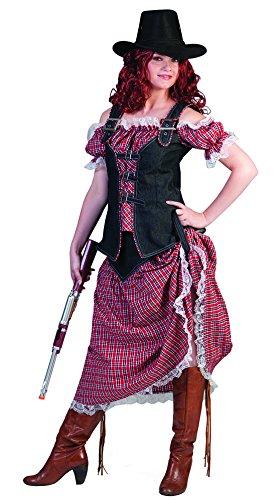 erdbeerclown - Cowgirl Kostüm Mit Kariertem langen Kleid für Damen, L, Mehrfarbig