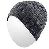 Qshell Hiver Trendy Court sans Fil Bluetooth Beanie Hat Cap pour Hommes Femmes avec Haut-parleurs stéréo Casques d'appel Mains Libres pour Les Sports de Plein air Gym Ski, Cadeaux de Noël - Gris
