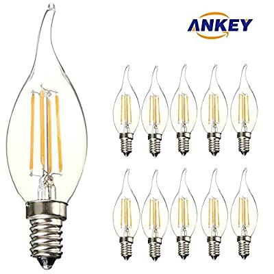 10-Pack E14 LED Candle Filament Bulbs 4W,Warm White 2700K Candelabra E14 SES Bulb, 360 Degree Beam Angle, Non-Dimmable, 450Lm, LED Light Bulb, Small Edison Screw Candle Light Bulbs, 40W Incandescent Replacement Clear Candle Bulbs Equivalent by ANKEY HOME