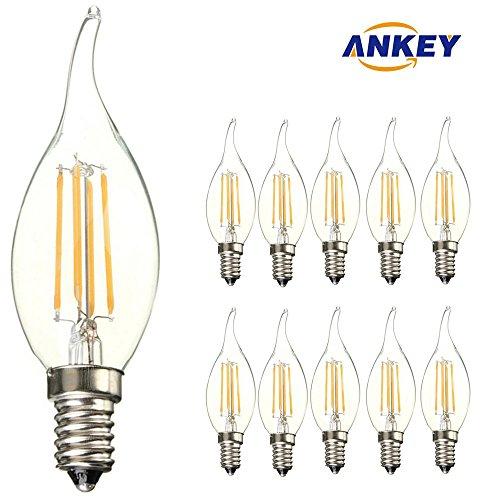 10-pezzi Lampadina Filamento LED Candela fiamma - Casquillo E14 - Potenza 4W (sostituisce 40 W) - Luce Bianca Calda (2700K) - 400 lm - Angolazione fascio luce 300°