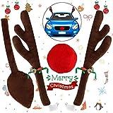 YQHbe Corna di Renna per Auto,Renne Rudolf di Natale Auto Decorazioni Reindeer Car Kit Decorazione Macchina di Natale 2 Corna Renne(44 cm) e 1 Coda 1 Naso per Auto Accessori Macchina Natalizi