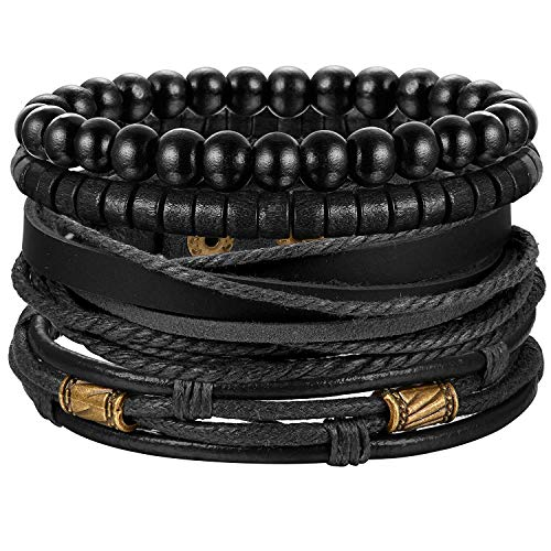 Finrezio Armband Holz Perlen Leder Armbänder Set für Herren Damen Geflochtene Leder Armbänd Vintage Punk Schwarz -