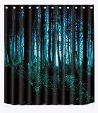 LB Halloween Decor Duschvorhang Horror Wald 180 cm x 180 cm Wasserdicht Polyester Stoff Badezimmer Dekor Vorhang