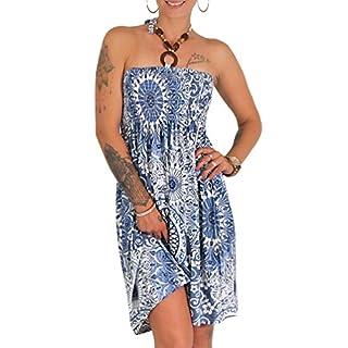 Neckholder Sommer Bandeau Kleid Holz-Perlen Damen Strandkleid Tuchkleid Tuch Aztec (1841 Blau)