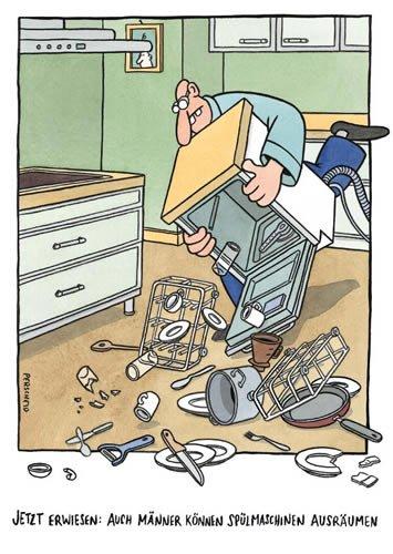 postkarte a6 cartoon von modern times m nner k nnen sp lmaschinen ausr umen. Black Bedroom Furniture Sets. Home Design Ideas