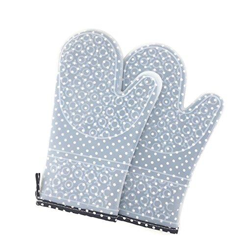 Grillhandschuhe aus Silikon und Baumwolle | Ofenhandschuhe grau | Unisex Topfhandschuhe | Backzubehör und Grillzubehör