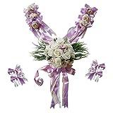 P Prettyia 12 Piezas Decoraciones Lazo de Flor para Boda Decoración de Coche Simulación Accesorio Decorativo