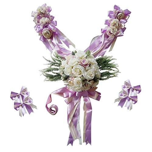 P Prettyia Künstliche Blumen Autodekoration Autoschmuck Autogirlande Autoschleifen für Hochzeit Brautauto - Lila -