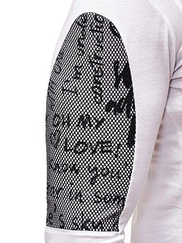 Herren Sweatshirt mit Print und Netz-Details Weiß