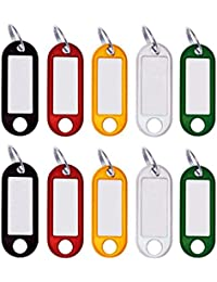 M&H-24 Schlüsselanhänger Kunststoff, Schlüsselschilder zum Beschriften, 10-30-50-100-Stück, mit Ring und auswechselbare Etiketten, Farbig Sortiert
