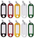 50 Stück Schlüssel-Anhänger beschriftbar Zum Beschriften, Schlüsselschilder beschriftbar mit Ring auswechselbarem Etikett in schwarz, rot, gelb, weiß, grün Plastik
