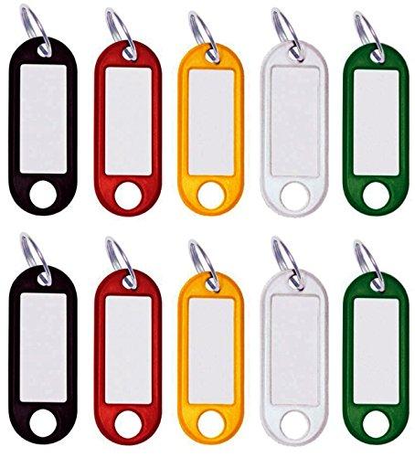 50 Stück Schlüssel-Anhänger Kunststoff, Schlüsselschilder beschriftbar mit Ring auswechselbarem Etikett in schwarz, rot, gelb, weiß, grün