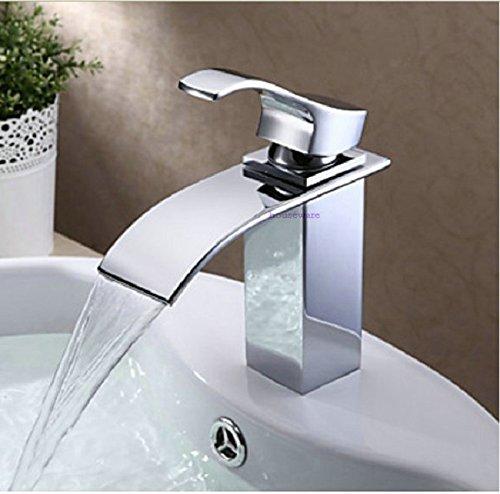 tougmoo modernes Single Griff Chrom-Finish Messing Material Wasserhahn Wasserfall Waschbecken Armatur ZX198 multi - Delta-badewanne-griffe
