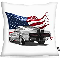 VOID Stars and Stripes Muscle Car Cuscini campione rivestimento per uso outdoor e indoor mustang, Kissen Größe:80 x 80