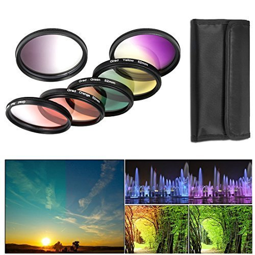 BPS 52mm 6pcs Filtro de Color Graduado ( Graduado filtro de color Grís Rojo Naranja Amarillo Verde Púrpura ) + bolsa de Filtro + Set de limpieza para Canon Nikon Sony Pentax Sigma y Otros lente de cámara con 52mm filtro