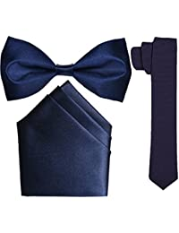 Sunshopping men's black micro fiber tie bow and pocket Square combo pack of three