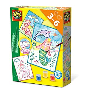 SES Creative 14014 Aqualine Glitter Cards, Diverse Colours
