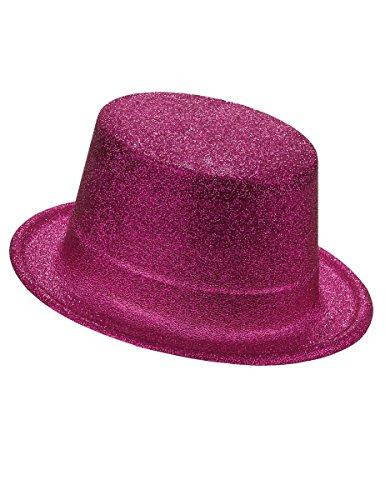 Sombrero de copa de plástico con brillantina rosa adulto