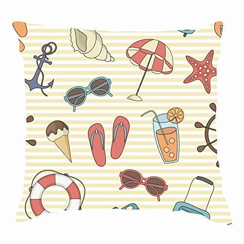 "tuyi Beach summerThrow Pillow Covers Cotton Linen Cushion Cover Cases Pillowcases Sofa Home Decor 18""x 18""Inch (45 x 45cm)"