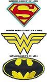 J & C DC Comics Batman, Superman, et Wonder Woman Logo Lot de 3brodée coudre/thermocollant patches