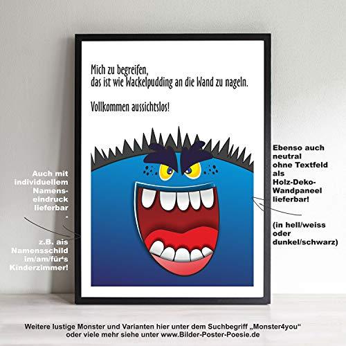 Monster Kunstdruck mit Zitat A4 Poster für Kind Kinderzimmer Kindergarten Bild und Rahmen Monster4you Halloween