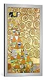 kunst für alle Bild mit Bilder-Rahmen: Gustav Klimt Die Erwartung Vorlage zum Stocletfries - dekorativer Kunstdruck, hochwertig gerahmt, 45x75 cm, Silber gebürstet