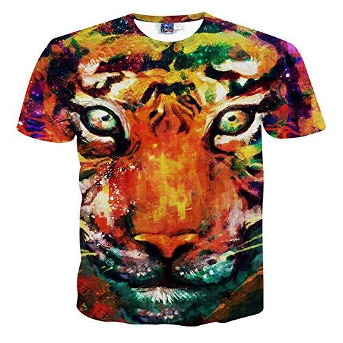 Niedliche Tier 3dt Shirt 3D Stereo Männer Kurzarm T-Shirt Liebhaber Sommerkleidung S-XXL Tiger S