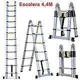 4.4M Escalera Telescópica Plegable ( Multi-propósito Extensible, Buena Calidad, Mayor Seguridad, Aluminio)