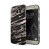 BURGA Hülle Kompatibel mit Samsung Galaxy S7 Edge Handy Huelle Schwarz Rose Gold Marmor Muster Black Marble Dünn, Robuste Rückschale aus Kunststoff Handyhülle Schutz Case Cover