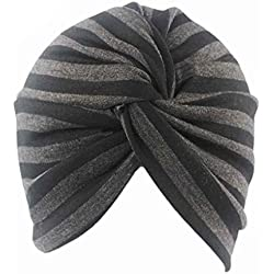 Bobury Sombreros de turbante de algodón a rayas Cubierta de turbante plisada para baño de baño con trama de mujer