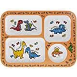Orange Dinosaur Melamine Plastic Childrens Sections Dinner Plate 30cm