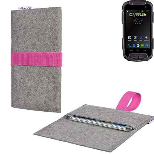 flat.design Handy Tasche Aveiro mit Filz-Deckel und Gummiband-Verschluss für Cyrus CS 23 - Sleeve Case Etui Filz Made in Germany hellgrau rosa - passgenaue Handyhülle für Cyrus CS 23