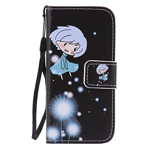 Isaken cover compatibile con ipod touch 5/6g custodia in pelle pu protettiva flip wallet portafoglio caso con strap/supporto di stand/carte slot/chiusura magnetica - dandelion